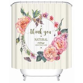 Flowers&Butterflies Pattern Eco-friendly Material Mildew Resistant Shower Curtain