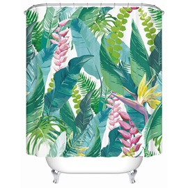 Plant Pattern Polyester Material Mildew Resistant Anti-Bacterial Material Shower Curtain