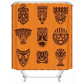 Orange Masks Pattern Anti-Bacterial Polyester Shower Curtain