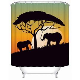 Black Elephants&Tree Pattern Anti-Bacterial Eco-friendly Shower Curtain