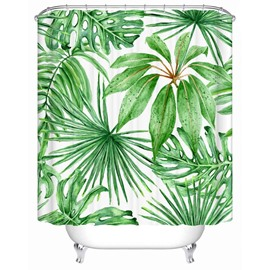 Green Leaves Pattern Anti-Bacterial Polyester Shower Curtain
