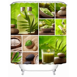 Green Pattern Polyester Eco-friendly Material Waterproof Anti-Bacterial Shower Curtain
