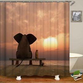 Elephant Sitting on the Stool Sunset Shower Curtain