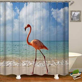 Flamingo Blue Sky Sea Beach Bathroom Shower Curtain