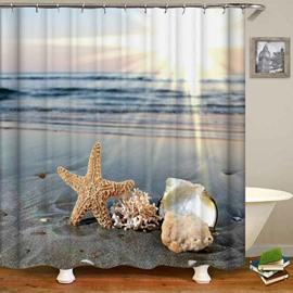 Blue Sea Yellow Starfish Waterproof Bathroom Curtain