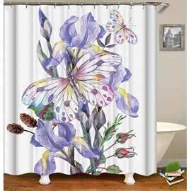 Violet Floral Pattern Butterfly Bathroom Shower Curtain