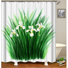 Green Grass White Flower Pattern Rural Style Shower Curtain