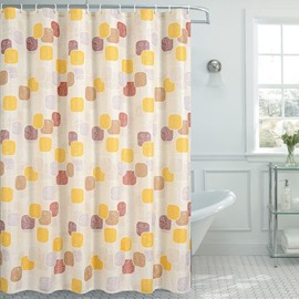 Color Block Polka Dots Pattern Polyester Shower Curtains
