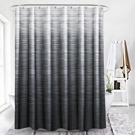 Extra-Thick Mildew Proof Gradient Stripe Pattern Polyester Shower Curtain