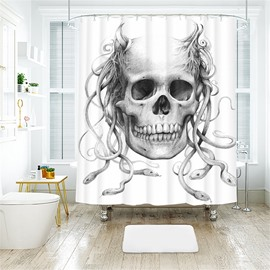 White Skull Pattern Halloween Style Polyester Anti-Bacterial Shower Curtain