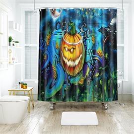 Cartoon Pumpkin Pattern Halloween Style Polyester Anti-Bacterial Shower Curtain