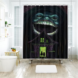 Creative Monster Pattern Halloween Style Polyester Anti-Bacterial Shower Curtain