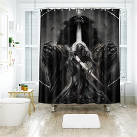 Bear And Skull Pattern Halloween Style Polyester Anti-Bacterial Shower Curtain