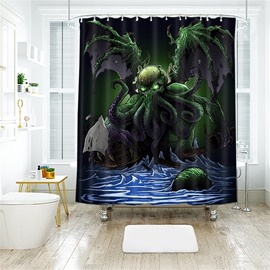 Devilfish Pattern Halloween Style Polyester Anti-Bacterial Shower Curtain