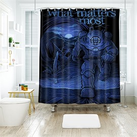 Halloween Style Spaceman Pattern Polyester Anti-Bacterial Shower Curtain
