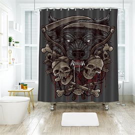 Halloween Style 2 Skulls Pattern Polyester Anti-Bacterial Shower Curtain