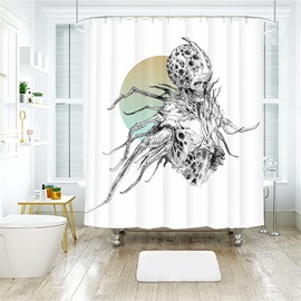 Funny Style Skull Pattern Polyester Anti-Bacterial Shower Curtain
