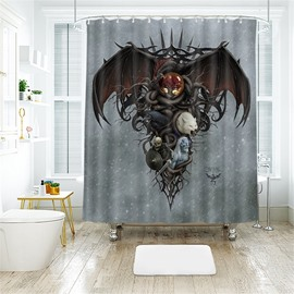 Creative Style Bat Pattern Polyester Anti-Bacterial Shower Curtain