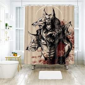 Creative Style Werewolf Pattern Polyester Anti-Bacterial Shower Curtain