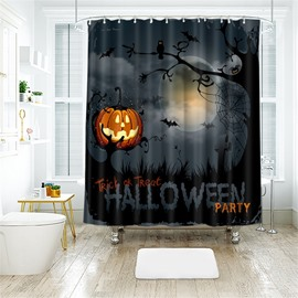 Pumpkin And Letters Pattern Polyester Anti-Bacterial Shower Curtain