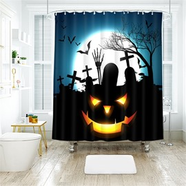Black Style Pumpkin Pattern Pattern Polyester Anti-Bacterial Shower Curtain