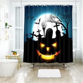 Black Style Pumpkin Pattern Pattern Polyester Anti-Bacterial Shower Curtain