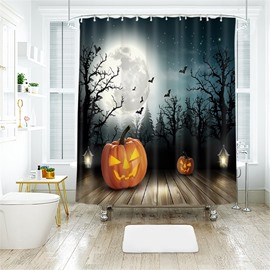 Cartoon Pumpkin And Forest Halloween Pattern Polyester Anti-Bacterial Shower Curtain