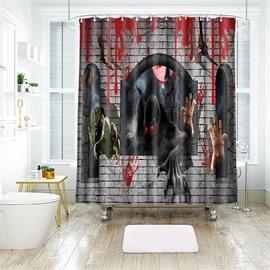 Creative Monster Halloween Scene Pattern Polyester Anti-Bacterial Shower Curtain