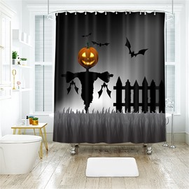 Pumpkin And Scarecrow Halloween Scene Pattern Polyester Anti-Bacterial Shower Curtain