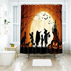 Cartoon Figures And Pumpkin Halloween Scene Pattern Polyester Anti-Bacterial Shower Curtain