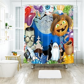 Cartoon Figures Halloween Scene Pattern Polyester Anti-Bacterial Shower Curtain