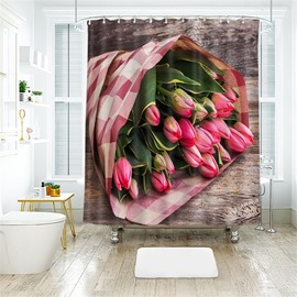 3D A Bunch Of Flower Printed Polyester Bathroom Shower Curtain