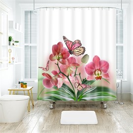 3D Flower And Butterfly Printed Polyester Bathroom Shower Curtain