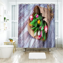3D A Bunch Of Carnation Printed Polyester Bathroom Shower Curtain