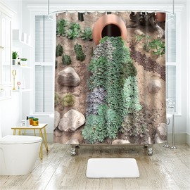 3D Creative Succulent Plants Printed Polyester Bathroom Shower Curtain