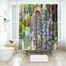 3D Succulent Plants Printed Polyester Bathroom Shower Curtain