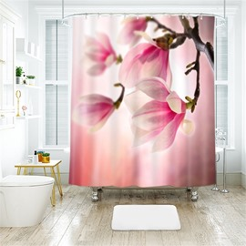 3D Pink Peach Blossom Printed Polyester Bathroom Shower Curtain