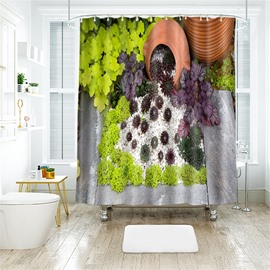 3D Green Plant Printed Polyester Bathroom Shower Curtain