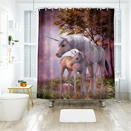 Two Unicorn 3D Printed Polyester Bathroom Shower Curtain
