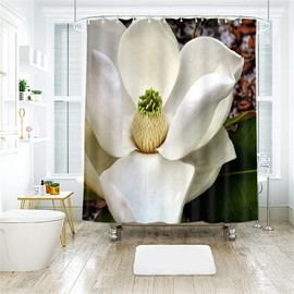 White Lily 3D Printed Polyester Bathroom Shower Curtain