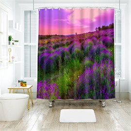 Lavender Fields 3D Printed Polyester Bathroom Shower Curtain