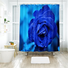 Blue Rose 3D Printed Polyester Bathroom Shower Curtain