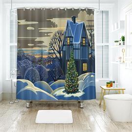 Special Taste Christmas Tree Heavy Gouache Paintings Bathroom Shower Curtain
