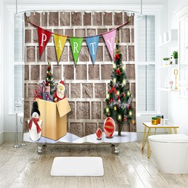 Christmas Party Brick Wall Wallpaper Bathroom Shower Curtain