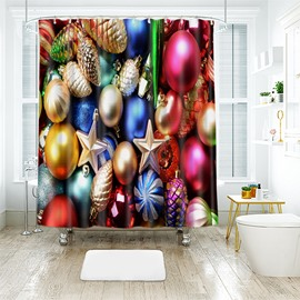 Sparkling Colorful Various Christmas Baubles Bathroom Shower Curtain