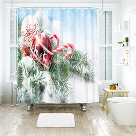 Christmas Tree and Balls in the Snow Bathroom Shower Curtain