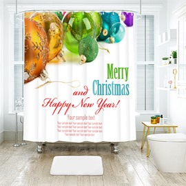 Colorful and Beautiful Christmas Lights in White Bathroom Shower Curtain