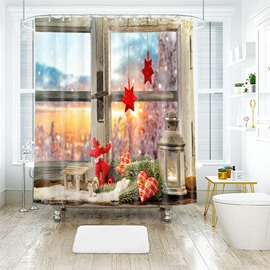 Christmas Beautiful Scenery 3D Bathroom Shower Curtain