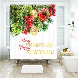 Plain Single Element Christmas Tree Bathroom Shower Curtain