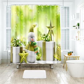 Unique Green Peaceful Snowman and Ornaments Bathroom Shower Curtain